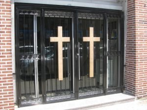 CUSTOM IRON DOUBLE DOOR WITH SIDE PANES
