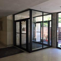 French medium stile clear anodized aluminum/glass doors