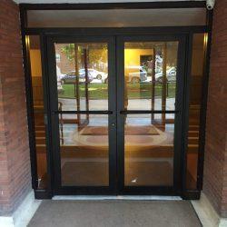 Pair medium stile dark bronze aluminum/glass doors