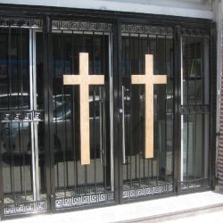 church aluminum door