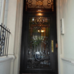 Custom Single Iron Door with Transom & Brass Colored Numbers